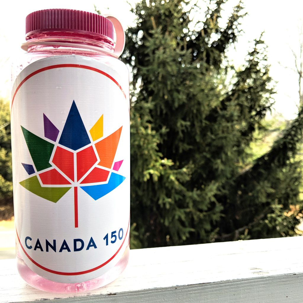 Canada 150 sticker on Nalgene water bottle