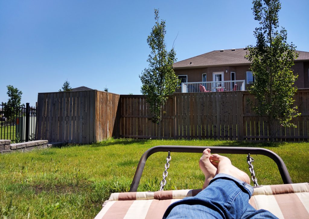 Relaxing on a hammock in Saskatoon
