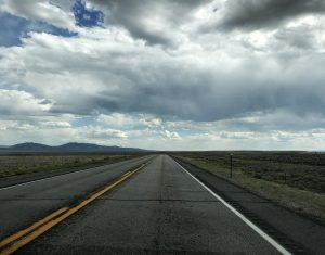 An open road in Wyoming