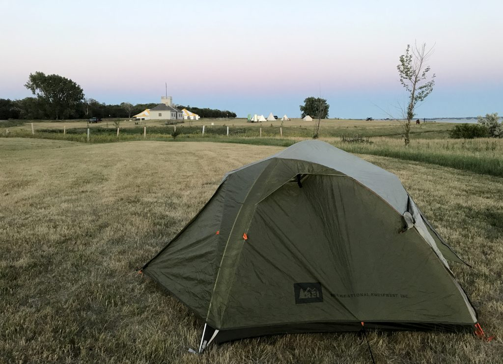 Camp setup for a night in North Dakota