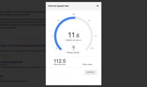 Internet speed test in progress