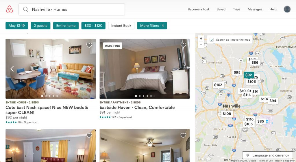 the airbnb website