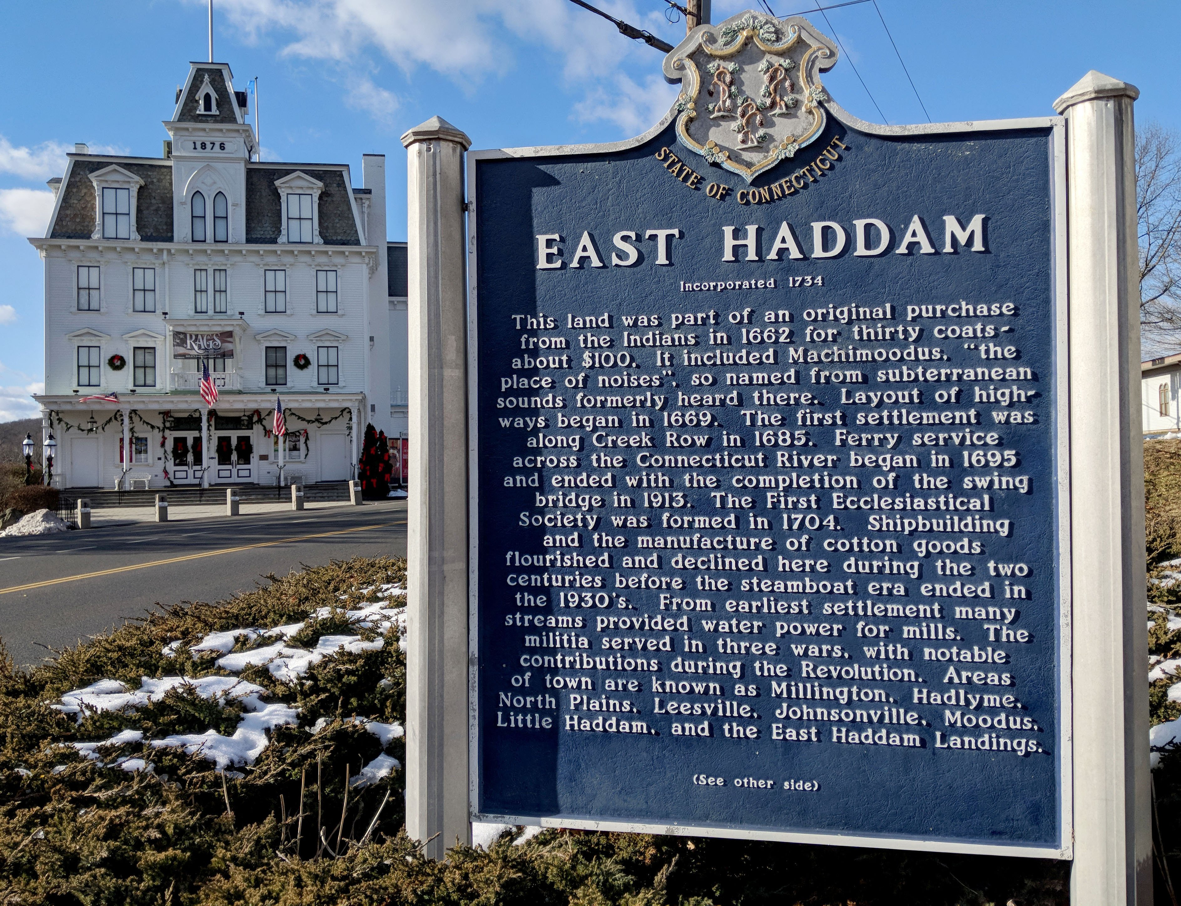 east haddam town sign with history