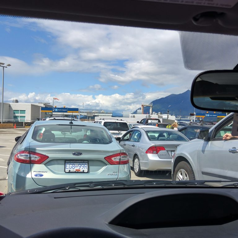 Cars waiting to board a ferry