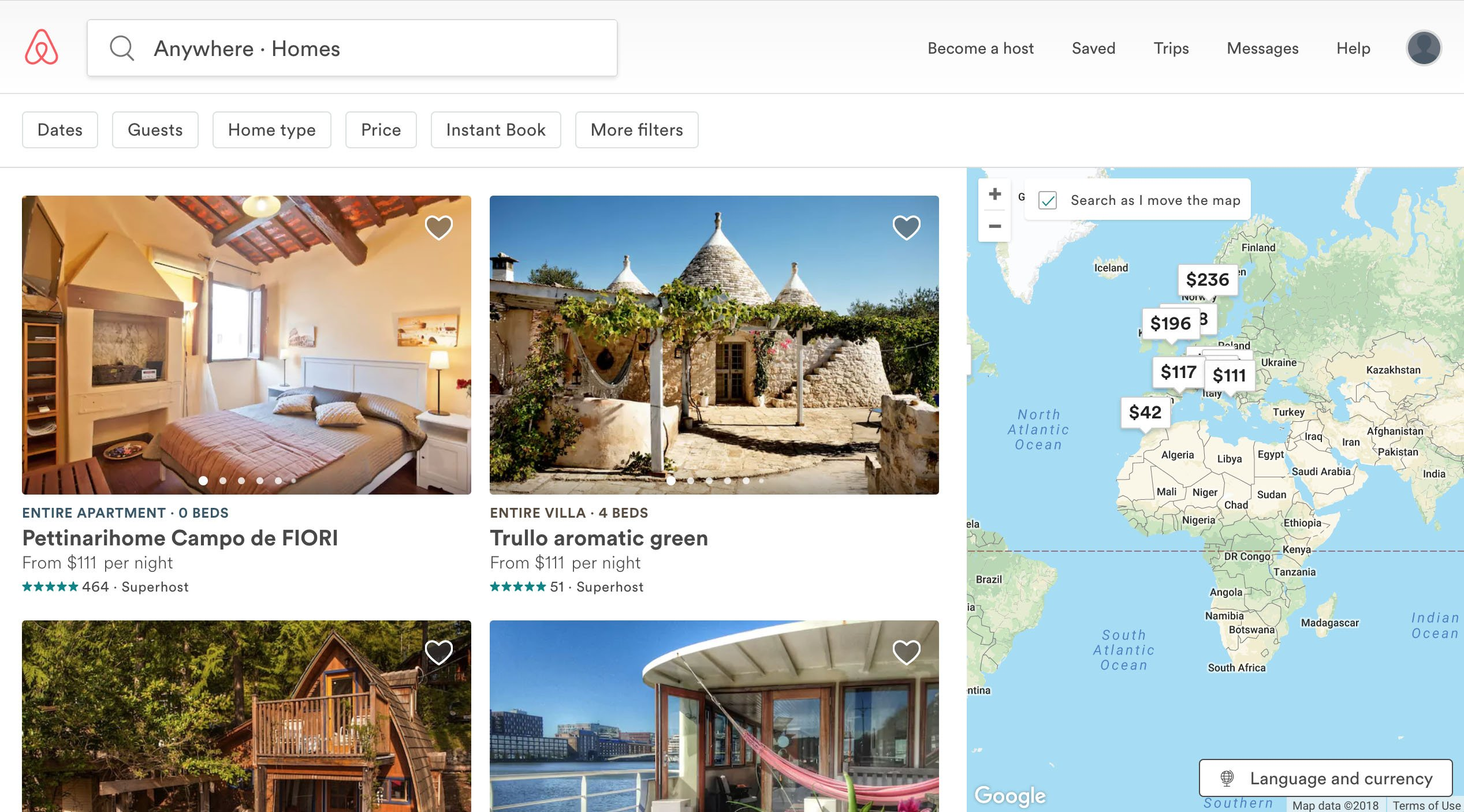 airbnb website landing page