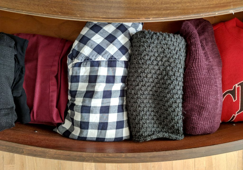 clothing in a drawer
