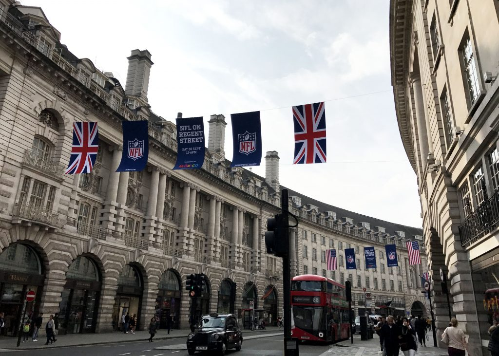 nfl flags on regents street in london