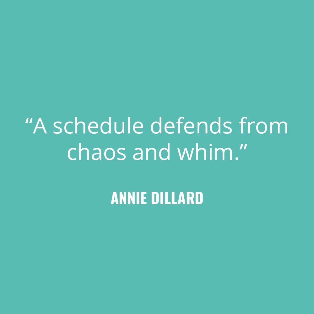"""A schedule defends from chaos and whim."" -Annie Dillard"