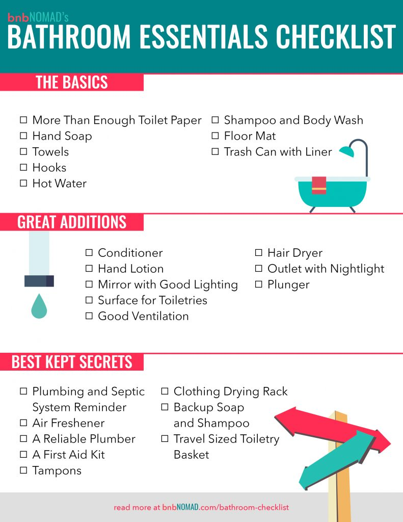 checklist of all items for an Airbnb bathroom