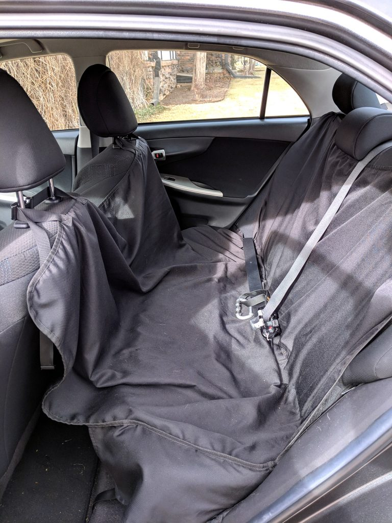 Waterproof seat protector setup in the car