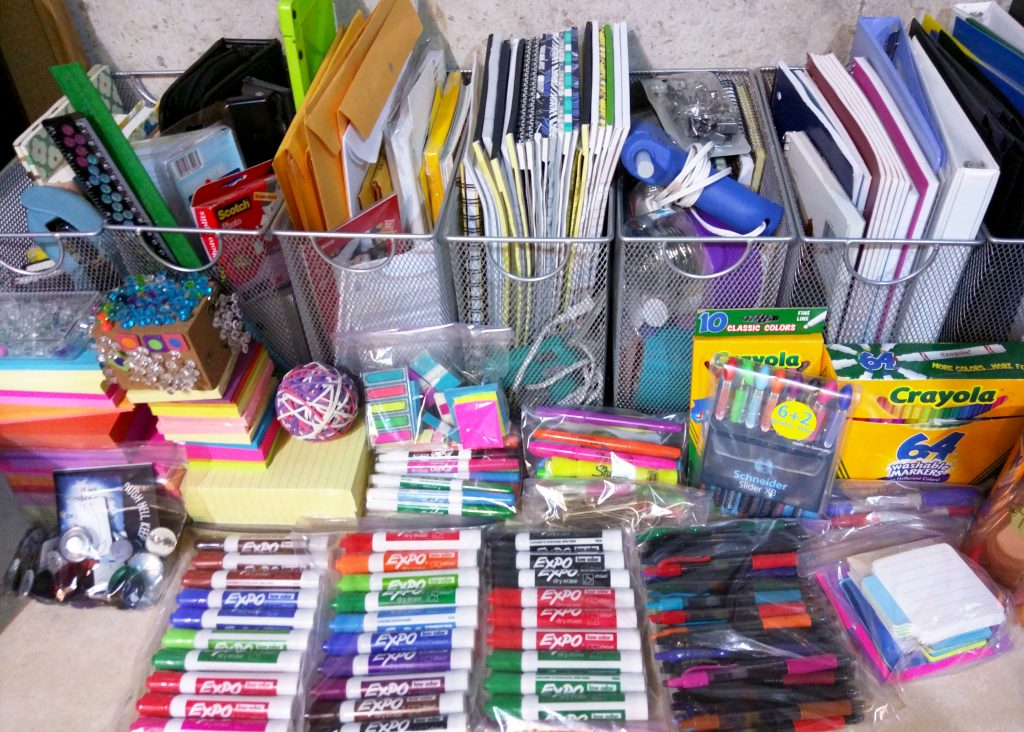 collection of school supplies