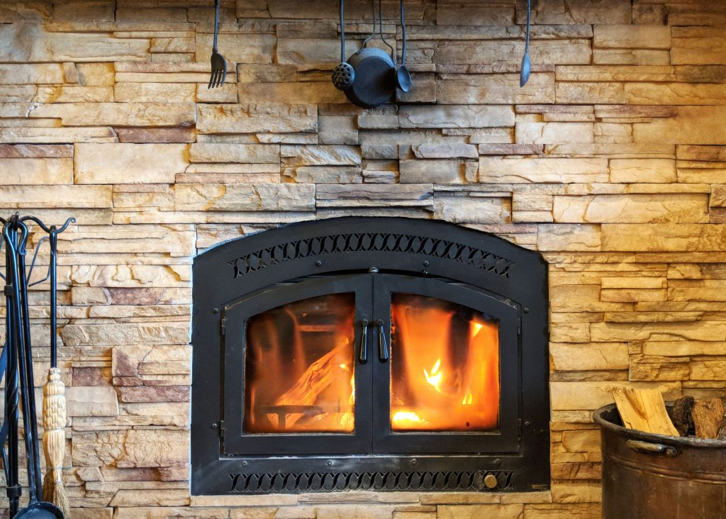 fireplace in an Airbnb in Tijeras, New Mexico