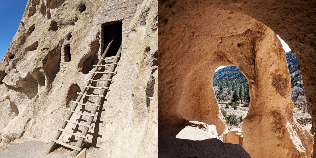 Entrance to one of Bandelier's cave dwellings alongside a view from inside a cave
