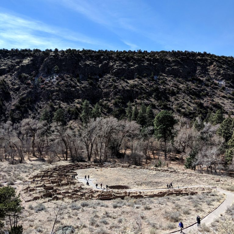 Overlooking Bandelier city remains from above
