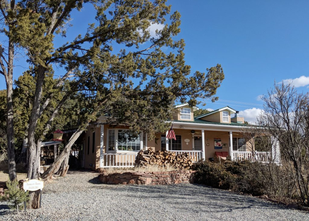 view of the brinkley house on airbnb in tijeras new mexico