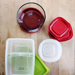assorted plastic and glass food storage containers