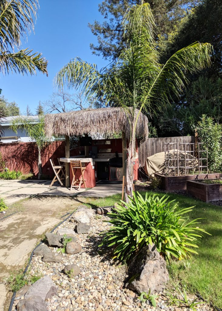 backyard cottage with outside tiki bar
