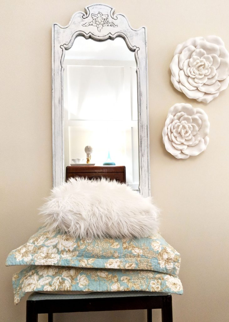 throw pillows in front a full length mirror