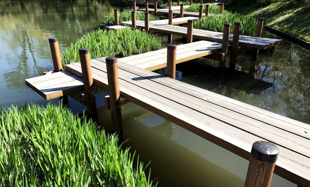 wooden planks over a pond