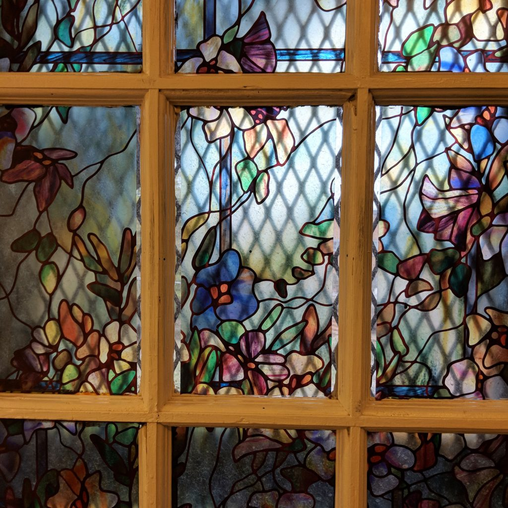 window with contact paper like stained glass