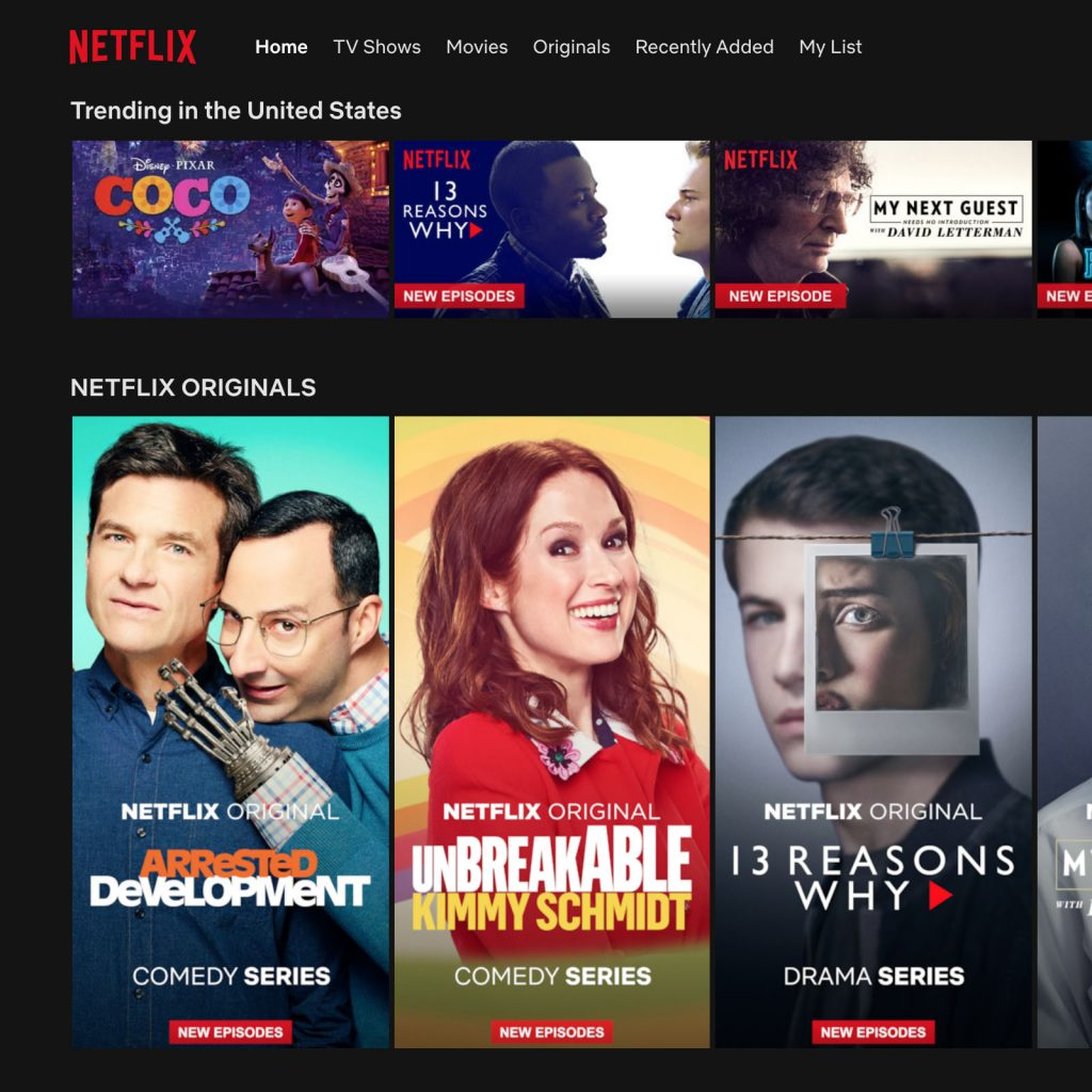 screenshot of Netflix landing page