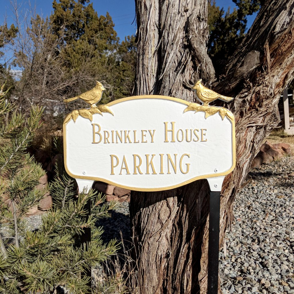 parking sign at brinkely house airbnb