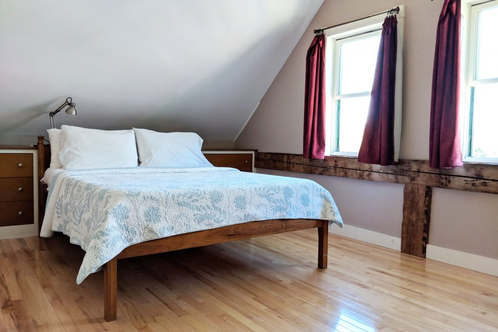 Bedroom at the Cherry Valley Farm Airbnb