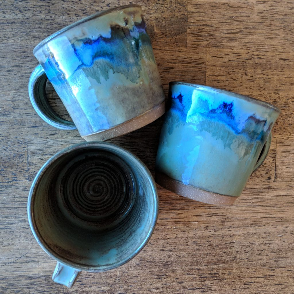 handthrown mugs in an Airbnb