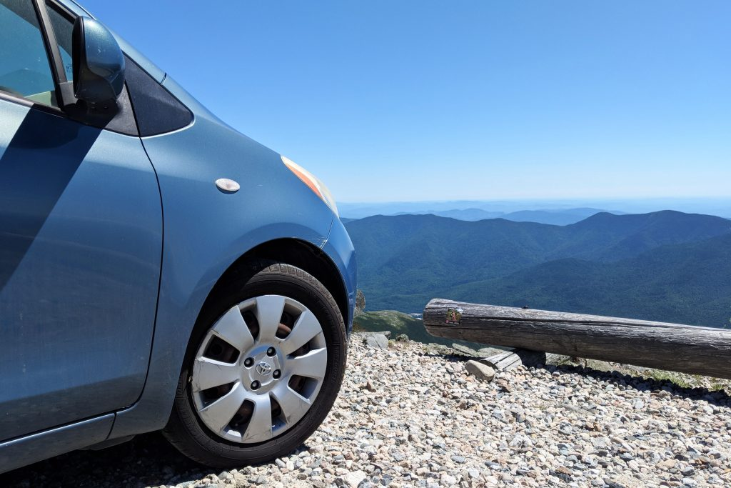 Our hatchback on top of Mount Washington