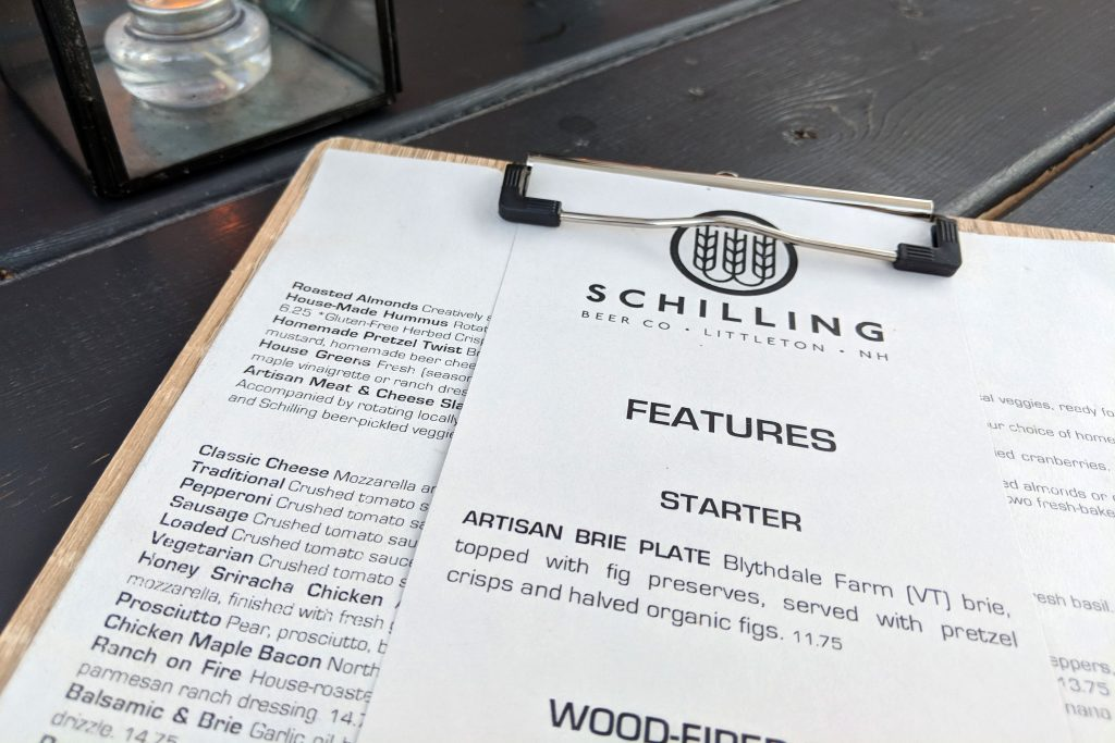 Shilling Brewery Menu in Littleton, New Hampshire