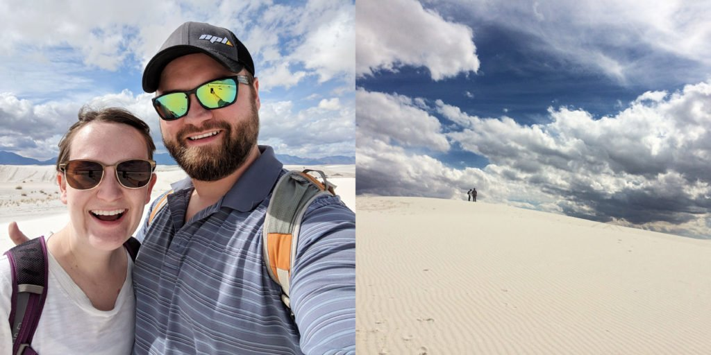 Airbnb bnbNomad Erin and Jay visiting the white sands in New Mexico