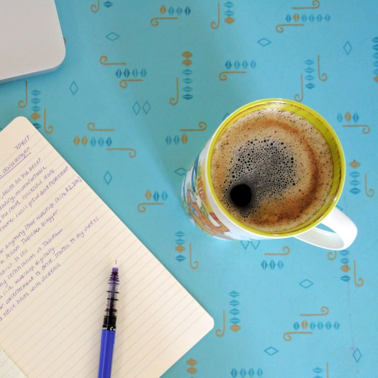 cup of coffee and notebook on teal table in Airbnb in Saskatoon