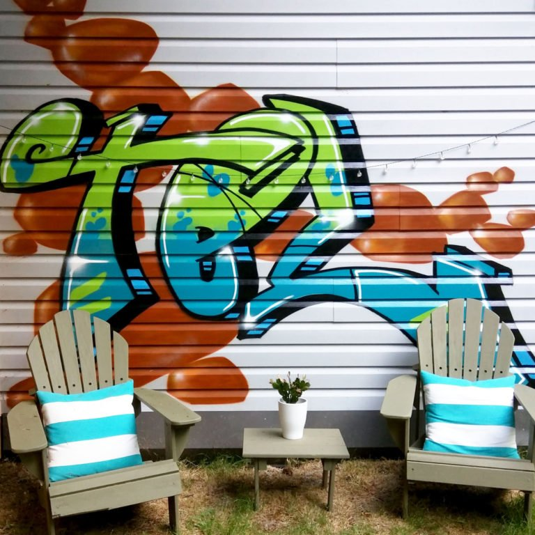 our hosts graffiti art at a British Columbia Airbnb