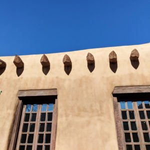 adobe and blue sky in Santa Fe, New Mexico