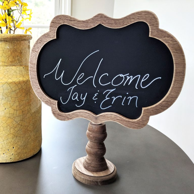 Welcome chalkboard at Oak and Hare Farms Tennessee Airbnb