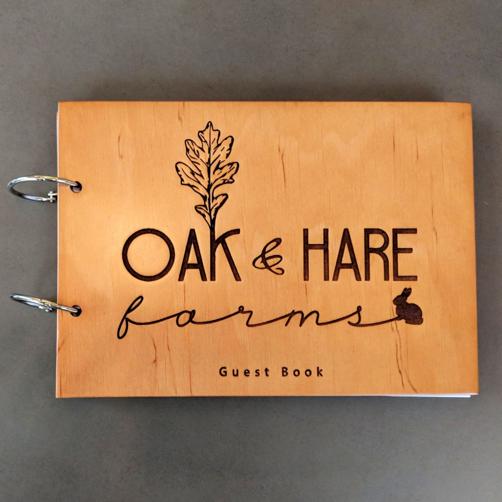 Guest Book at the Oak and Hare Farms Airbnb in Tennessee