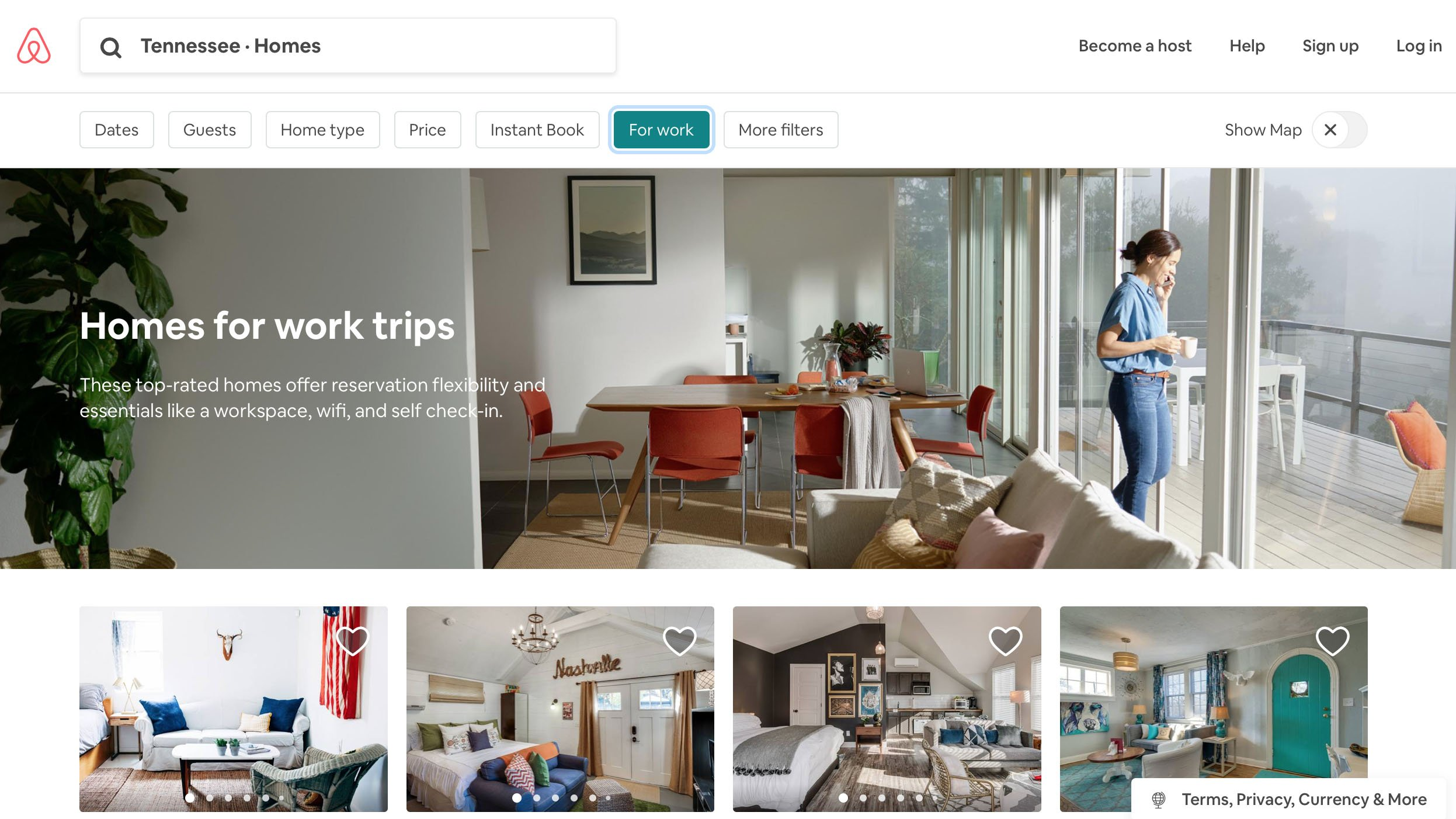 Airbnb for work homepage