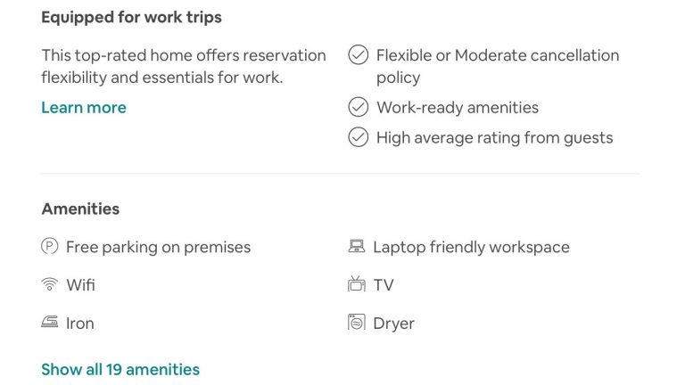 Airbnbs tagged as equipped for work trips