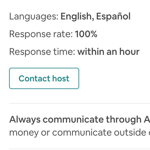 Airbnb host response rate at 100%