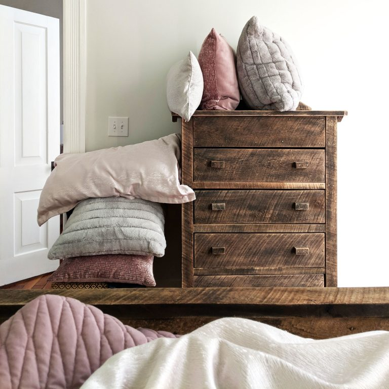 Dresser for throw pillows at night