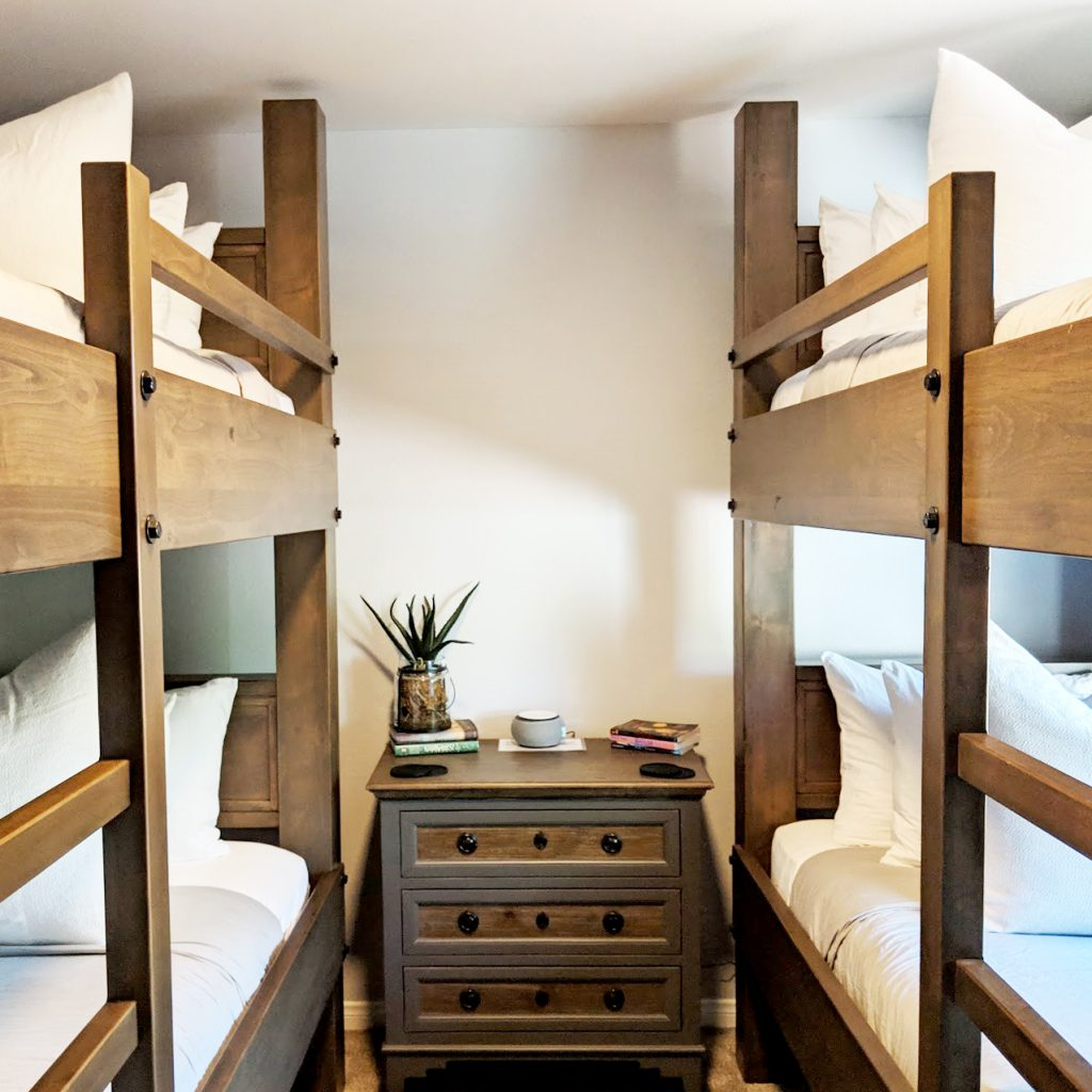 twin sets of bunk beds in family airbnb