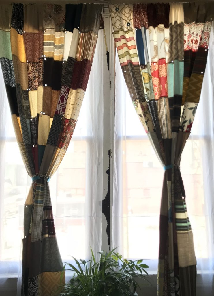 curtains made from quilt squares