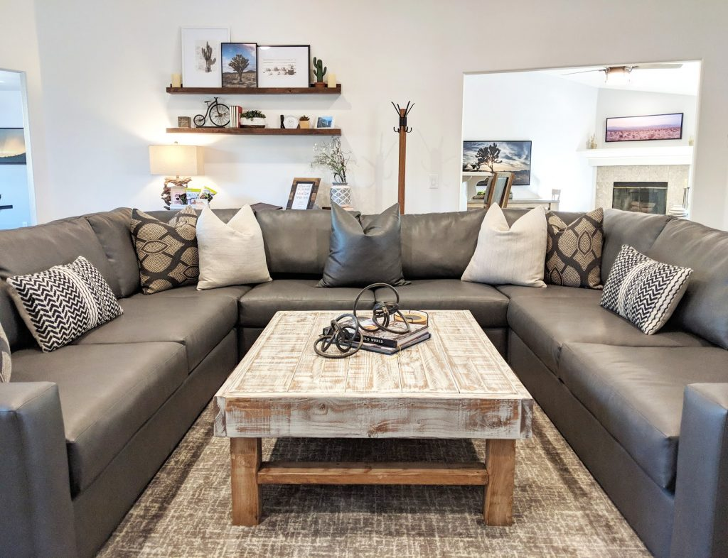 three piece sectional in living room